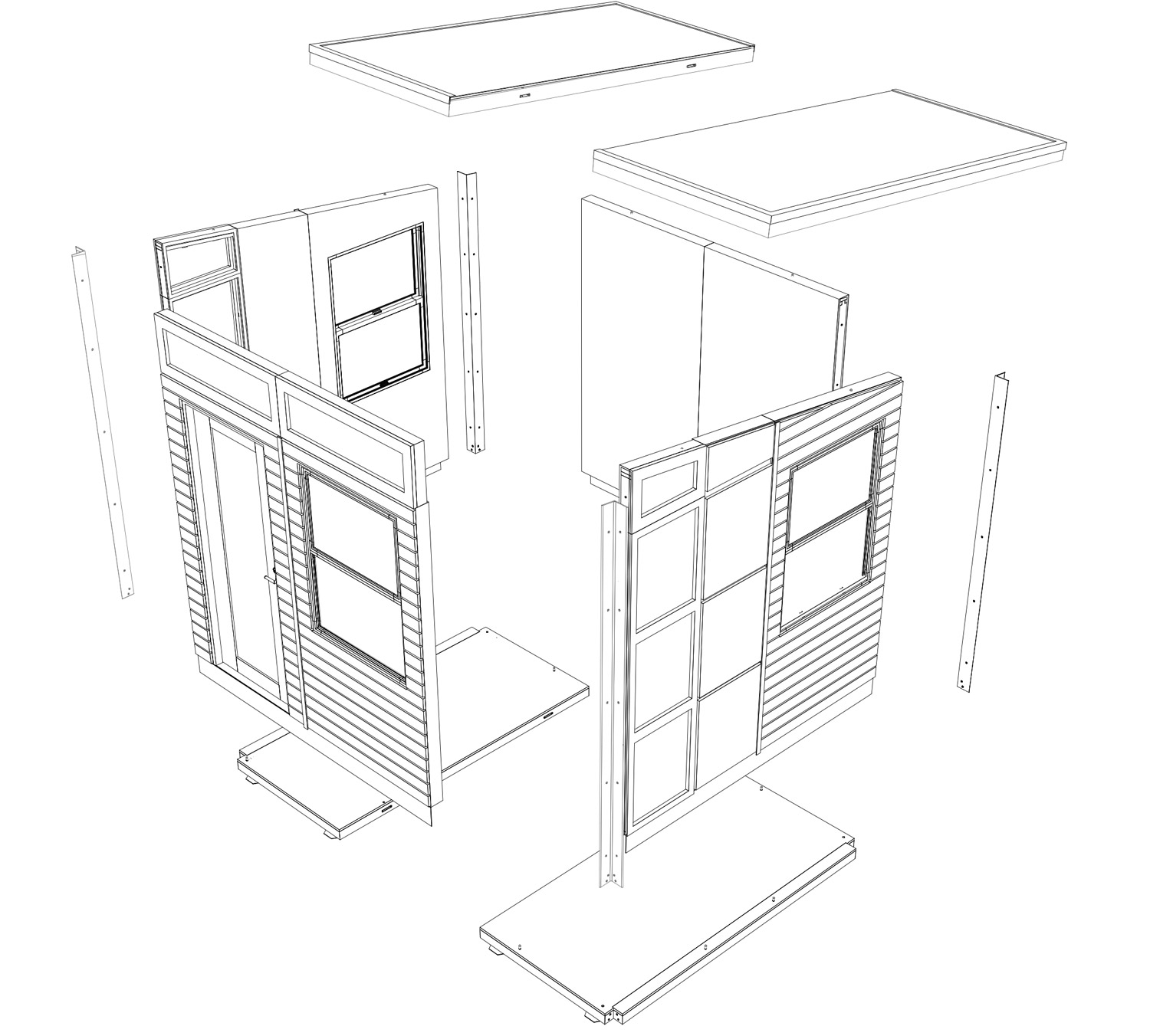 exploded view of backyard office studio